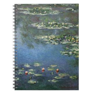 Wasserlilien durch Claude Monet, Vintage Blumen Spiral Notizblock