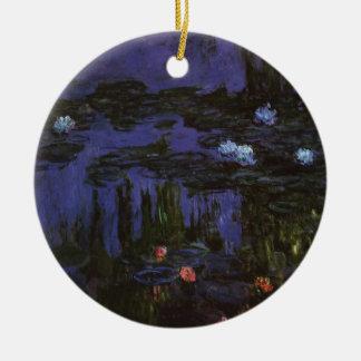 Wasserlilien durch Claude Monet, Vintager Rundes Keramik Ornament