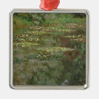 Wasserlilien oder der Wasser-Lilien-Teich Nympheas Silbernes Ornament