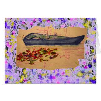 Wasserlilien und Boot heftiger Skizze-Tropfen Karte