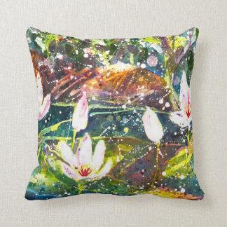 Wasserlilieteich Watercolor Throwkissen Kissen
