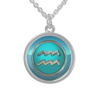 Wassermann-astrologisches Zeichen Sterling Silberkette