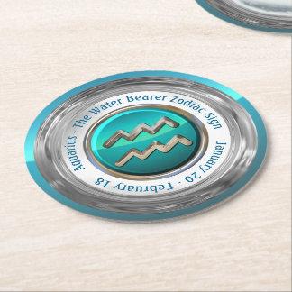 Wassermann - das Wasser-Träger-Tierkreis-Zeichen Runder Pappuntersetzer