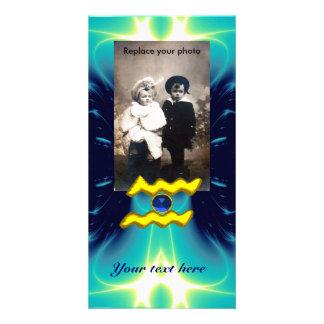 WASSERMANN-/GOLD-TIERKREIS-GEBURTSTAGS-JUWEL INDIVIDUELLE FOTO KARTE