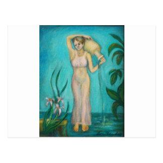 Wassermann-Göttin mit Lilly durch das Wasser Postkarte