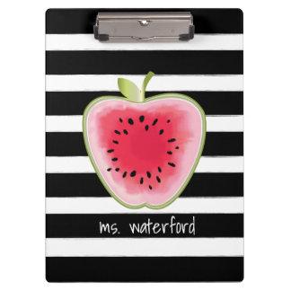 Wassermelone Apple Stripes personalisierten Lehrer Klemmbrett