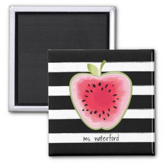 Wassermelone Apple Stripes personalisierten Lehrer Quadratischer Magnet