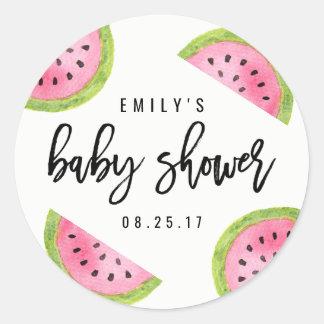Wassermelone-Babyparty Runder Aufkleber
