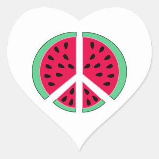 Wassermelone des Friedens Herz-Aufkleber