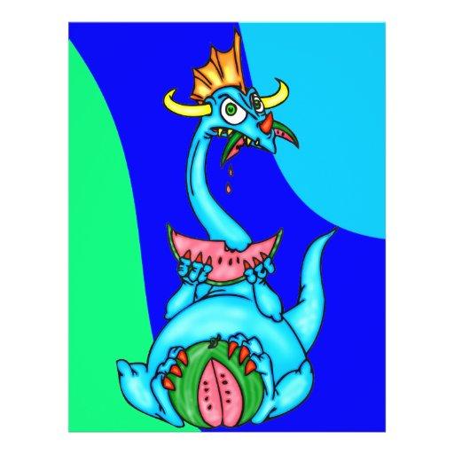 Wassermelone, die Drachen isst Flyer Druck