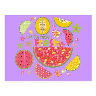 Wassermelone-Kantalupen-Frucht-süße Gesundheit Postkarte