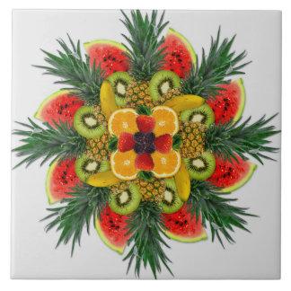 Wassermelone-Kiwi-Bananen-orange Große Quadratische Fliese