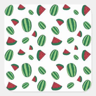 Wassermelone-Muster Quadratischer Aufkleber