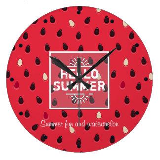 Wassermelone-Muster, Sommerzeit | personalisiert Große Wanduhr