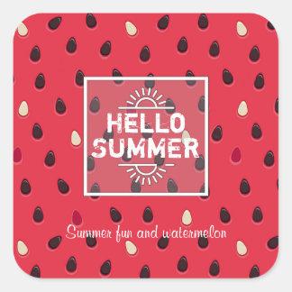 Wassermelone-Muster, Sommerzeit | personalisiert Quadratischer Aufkleber