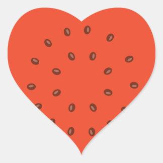 Wassermelone nach innen Herz-Aufkleber