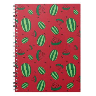 Wassermelone-Rot-Muster Spiral Notizblock