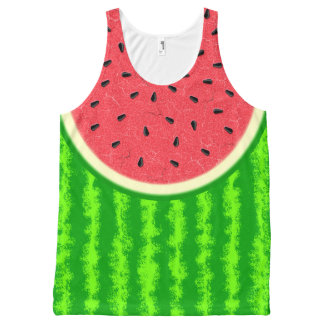 Wassermelone-Scheibe-Sommer-Frucht mit Rinde Komplett Bedrucktes Tanktop