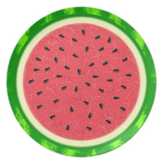Wassermelone-Scheibe-Sommer-Frucht mit Rinde Melaminteller