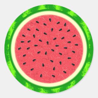 Wassermelone-Scheibe-Sommer-Frucht mit Rinde Runder Aufkleber