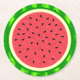 Wassermelone-Scheibe-Sommer-Frucht mit Rinde Runder Pappuntersetzer