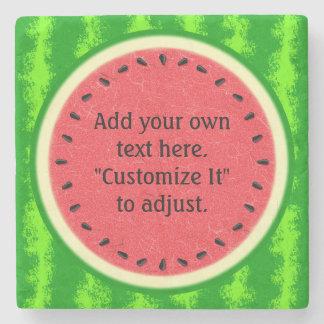 Wassermelone-Scheibe-Sommer-Frucht personalisiert Steinuntersetzer
