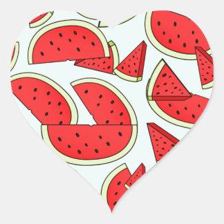 Wassermelone-Sommerzeit Herz-Aufkleber