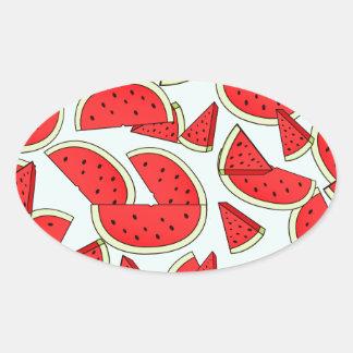 Wassermelone-Sommerzeit Ovaler Aufkleber