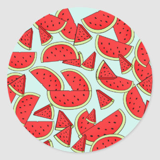 Wassermelone-Sommerzeit Runder Aufkleber