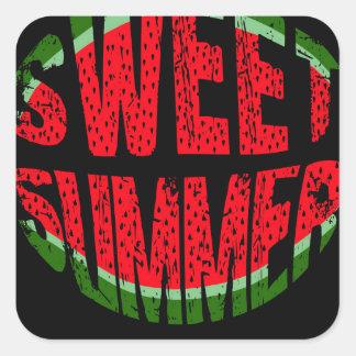 Wassermelone - süßer Sommer Quadratischer Aufkleber