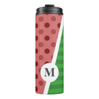 Wassermelone-Tupfen und Streifen: Monogramm Thermosbecher