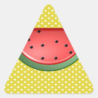 Wassermelone und Polks Punkte Dreieckiger Aufkleber