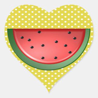 Wassermelone und Polks Punkte Herz-Aufkleber