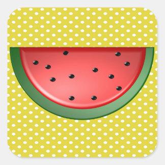 Wassermelone und Polks Punkte Quadratischer Aufkleber
