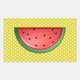 Wassermelone und Polks Punkte Rechteckiger Aufkleber