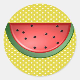 Wassermelone und Polks Punkte Runder Aufkleber