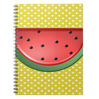 Wassermelone und Polks Punkte Spiral Notizblock