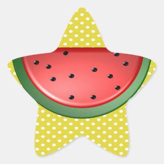 Wassermelone und Polks Punkte Stern-Aufkleber