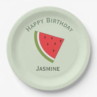 Wassermelonefrucht, alles Gute zum Geburtstag Pappteller