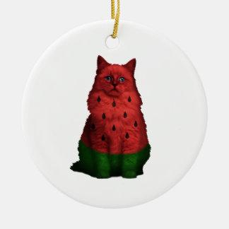 Wassermelonekatze Keramik Ornament