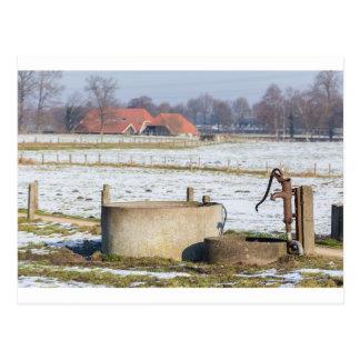 Wasserpumpe und gut in der Winterschneelandschaft Postkarte