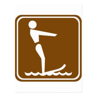 Wasserski-Landstraßen-Zeichen Postkarte