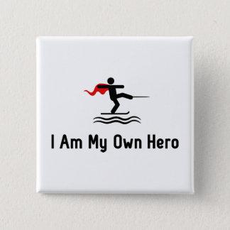 Wasserskifahren-Held Quadratischer Button 5,1 Cm