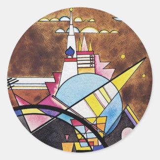 Wassily Kandinsky - großes Tor von Kiew abstrakt Runder Aufkleber
