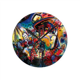 Wassily Kandinsky - Moskaucityscape-abstrakte Runde Wanduhr