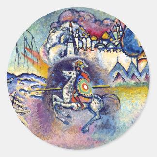 Wassily Kandinsky - St George u. die Reiter Runder Aufkleber
