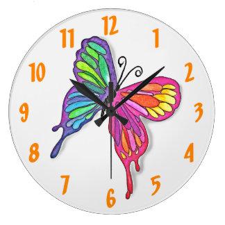 Wässrige Schmetterlings-Wanduhr Große Wanduhr