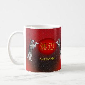Watanabe-Monogramm-Hund Kaffeetasse