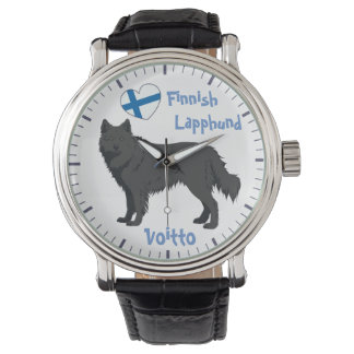 Watch Finnish Lapphund black Lapinkoira Armbanduhr