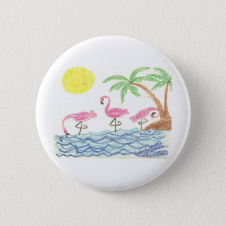 Waten der Flamingos Runder Button 5,7 Cm